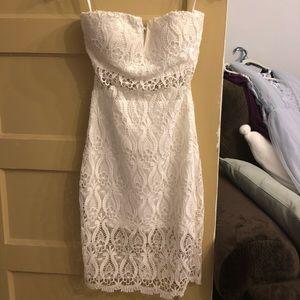 Bebe white strapless lace dress